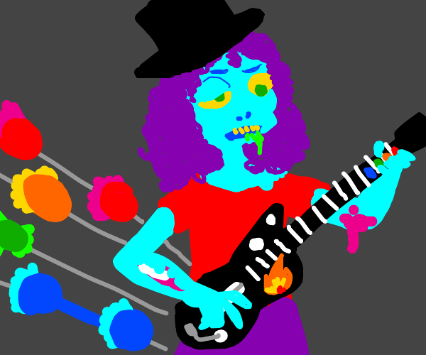 A zombie playing guitar hero