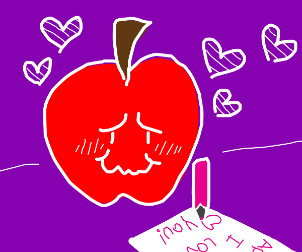 An apple with a face writing a love letter