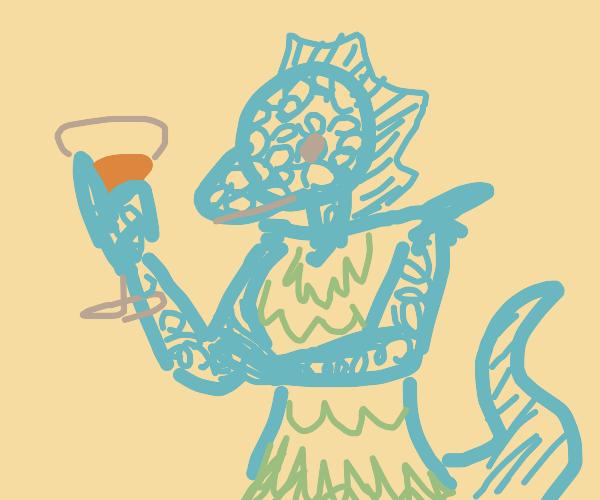 Bipedal lizard woman