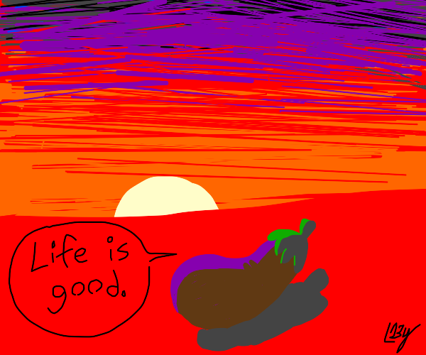 happy eggplant looking at the sunset
