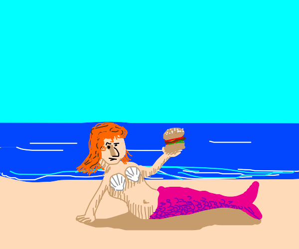 Mermaid offers you a burger