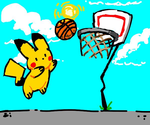 Pikachu playing basketball