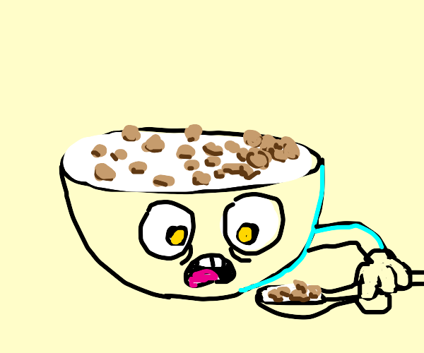 Sentient cerealbowl eating cereal from itself