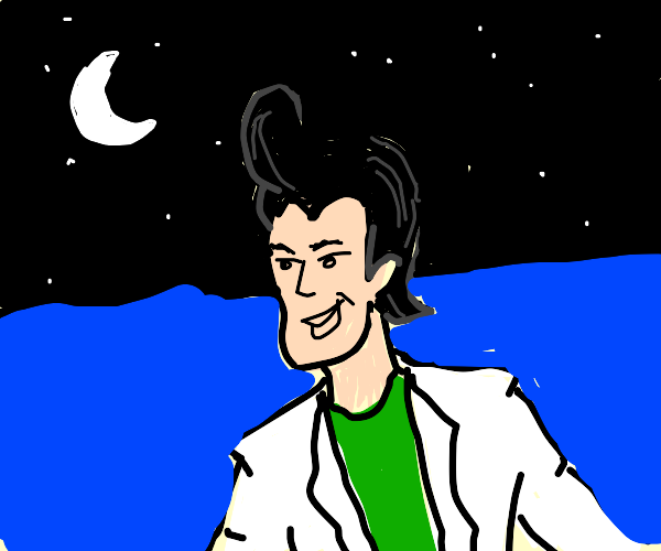 elvis but his hair is the night sky