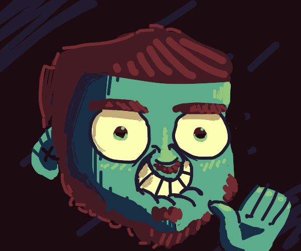 Green guy with brown hair and beard waves to