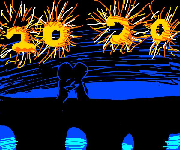 2020 celebration at a bridge with fireworks