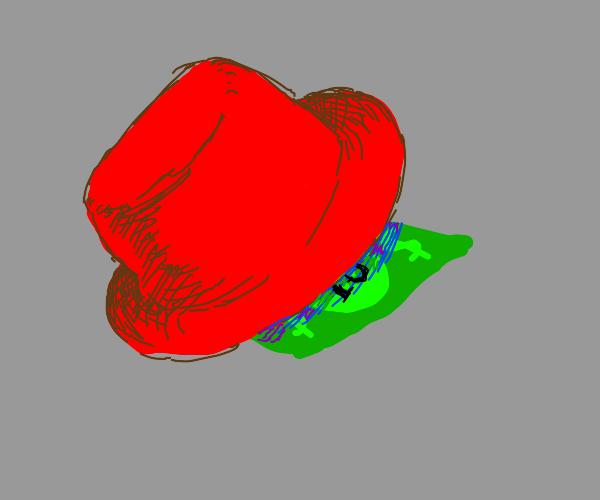 Hides 10$ under red hats