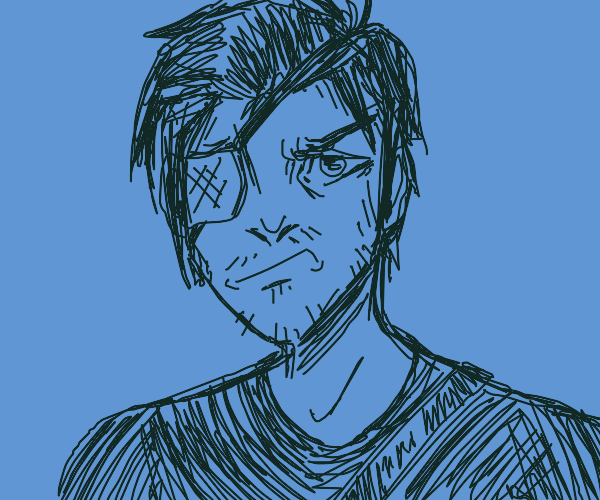 Angry anime character with eye patch