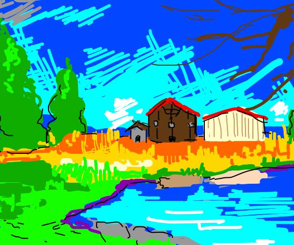 farm next to the creek
