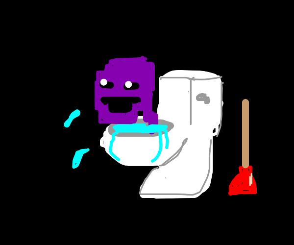 Purple man in a toilet