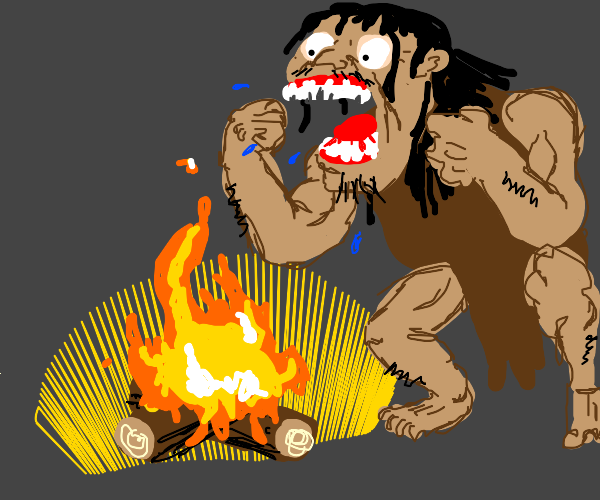 Caveman discovering fire