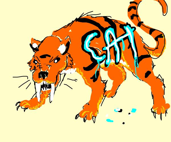 Graffitied saber tooth tiger is badass.
