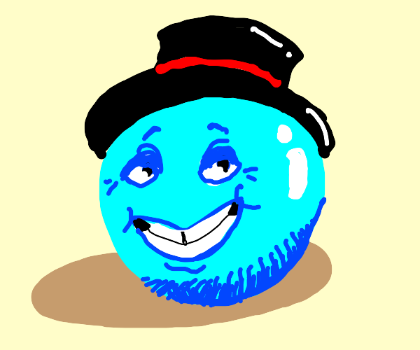 Happy blue ball with a top hat (He nice lad)