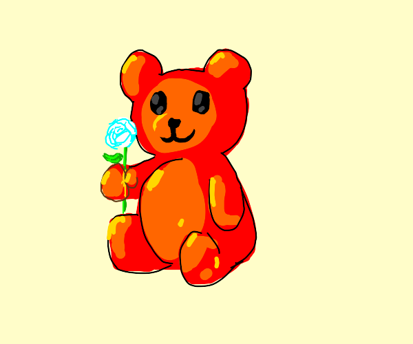 red gummy bear holding a white rose