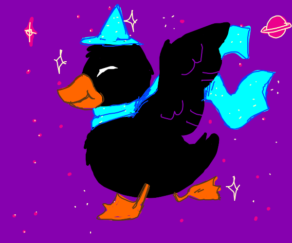 A cute stylish duck in space