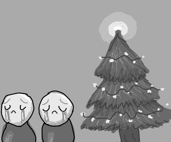Two men cry by Christmas tree