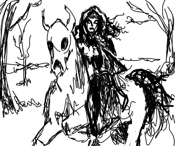 ghost girl riding a horse/wendigo hybrid