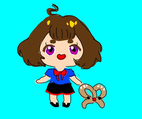 Kawaii anime schoolgirl and her pet pretzel