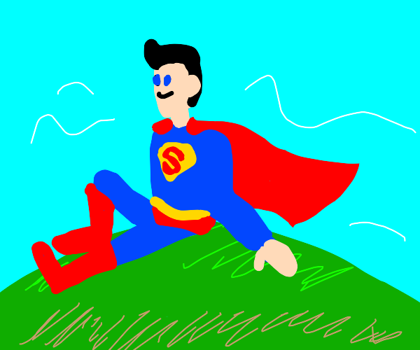 Superman on a hill