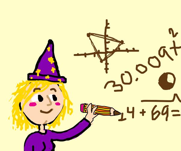 Magic math woman uses pencil