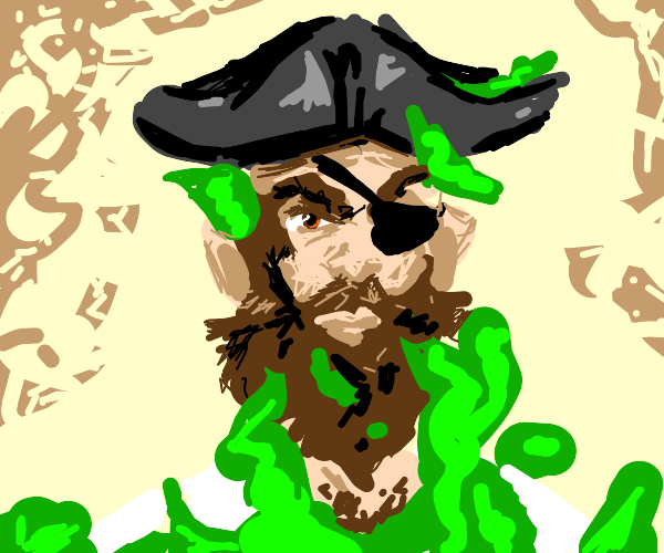 Pirate covered in seaweed on the beach