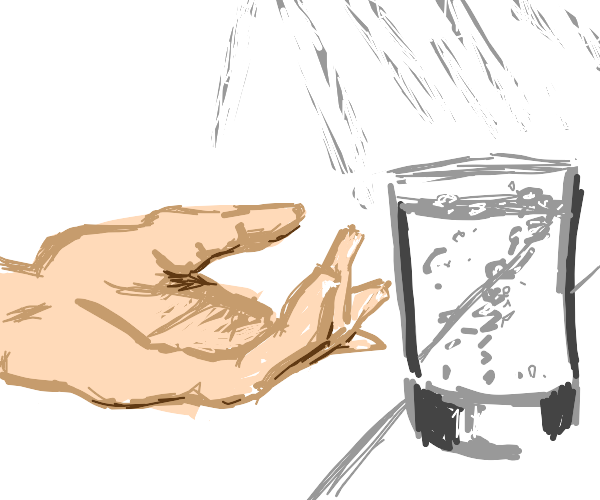 Hand reaching out of water