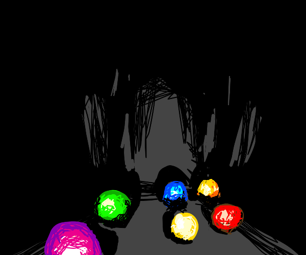 6 colorful balls lost in the darkness
