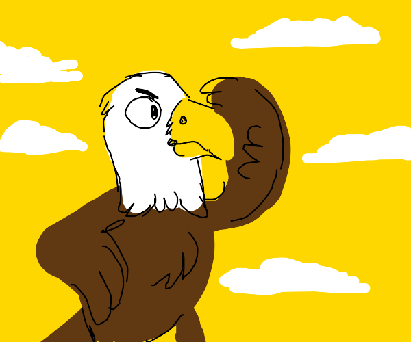 Young teenage eagle observing yellow skies