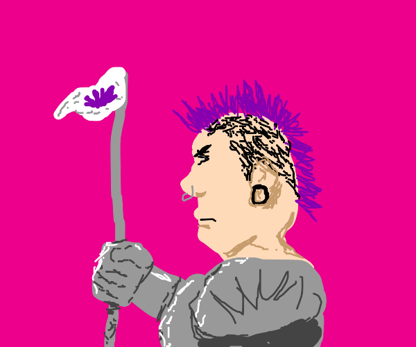 punk with purple hair goes into medieval war