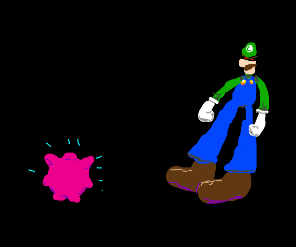 jigglypuff about to face the wrath of luigi