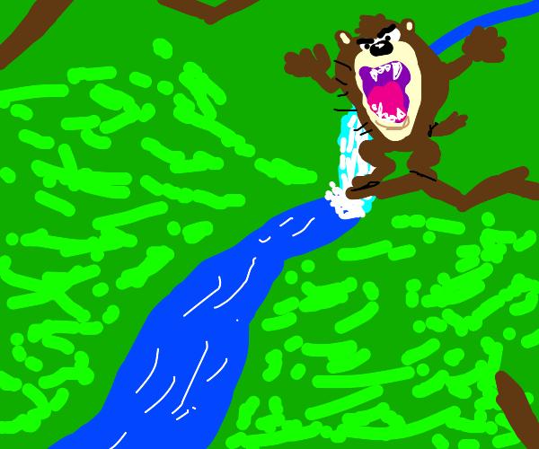 Tazmanian devil roaring on a branch, by river