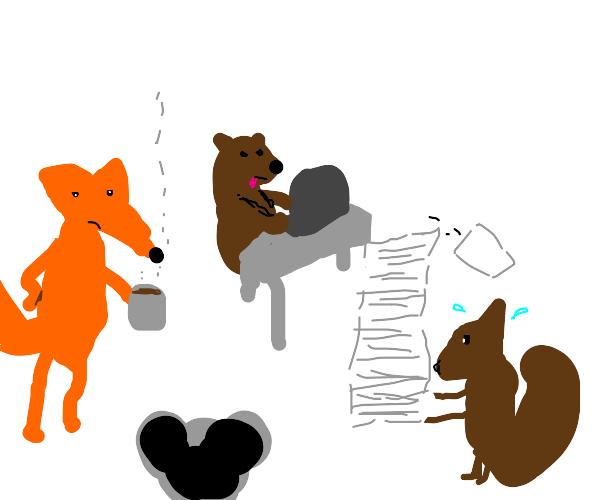 Woodland animals do business