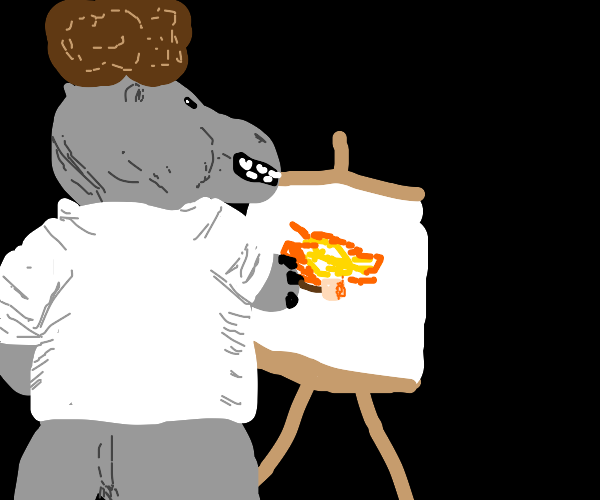 hippo bob ross painting in a black room