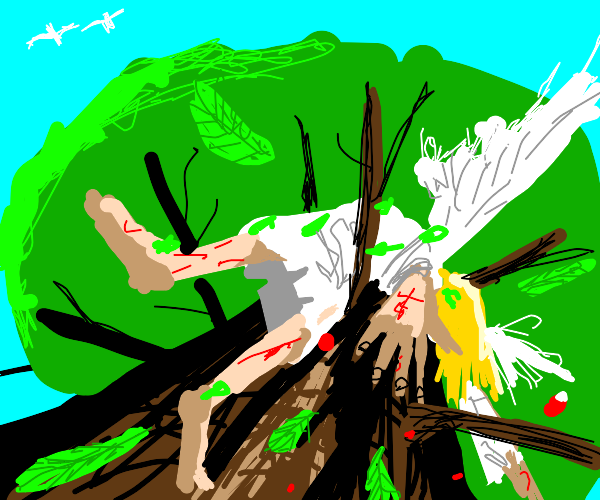 Fallen angel crashes into a tree