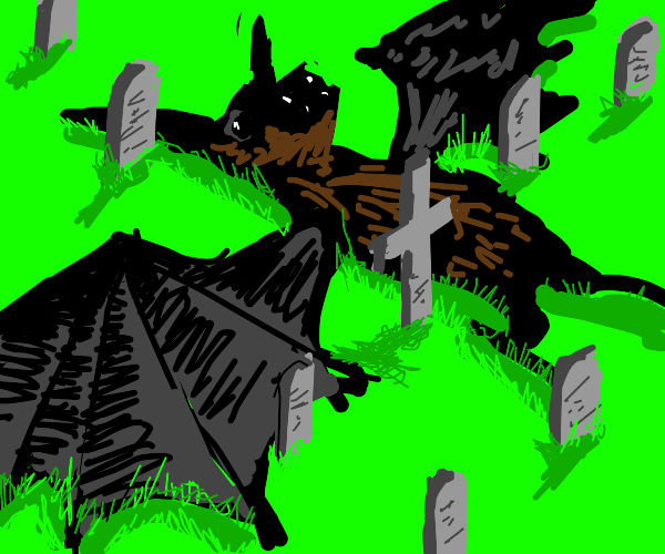 Bat flat on its back in a graveyard