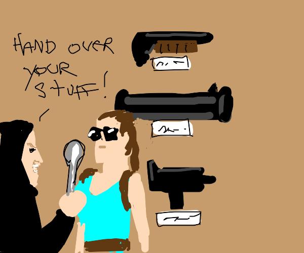 Man mugging woman at gun store