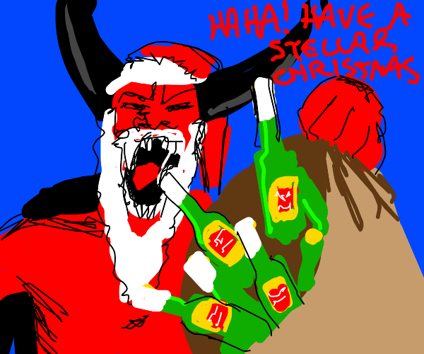 the devil tries to stell a gift from santa