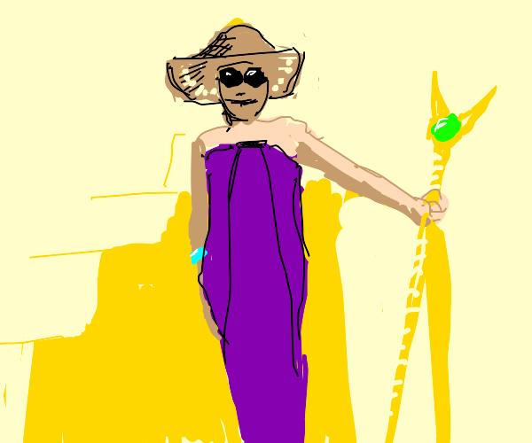 Princess in purple dress holds a magic staf