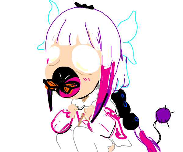 Kanna from Dragon Maid eats butterfly