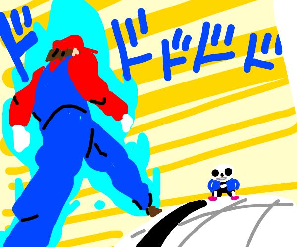 MariowalkinuptoSanslikeDioandisgoinfighthim