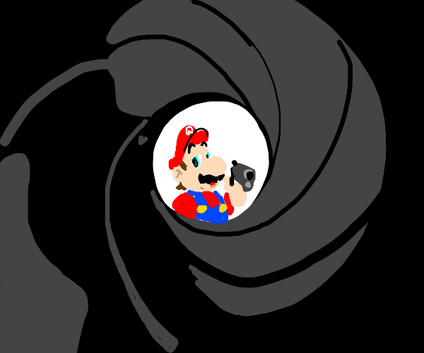 mario with a gun in 007 title