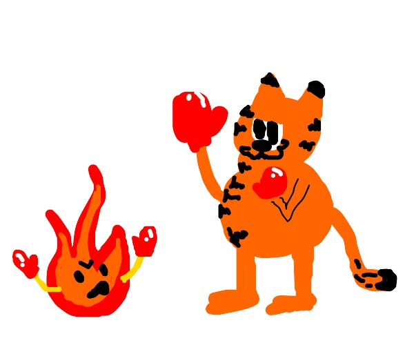 Garfield fights fire