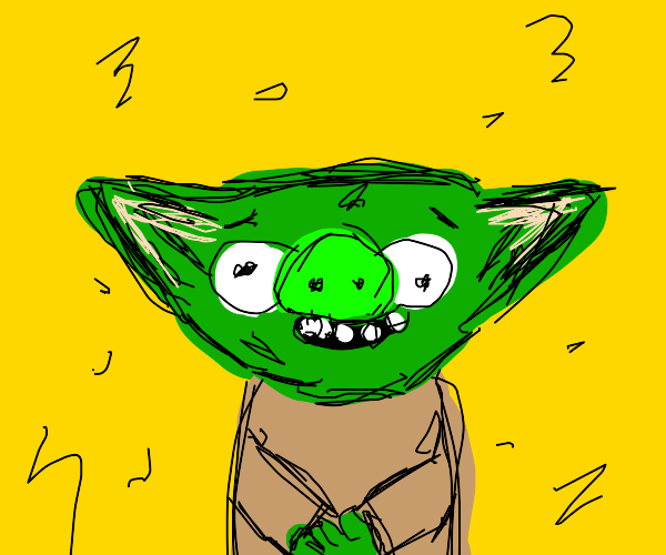 angry birds pig(or baby yoda)