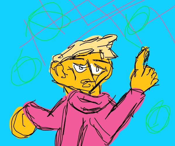 Man in pink sweater stating something(blonde)