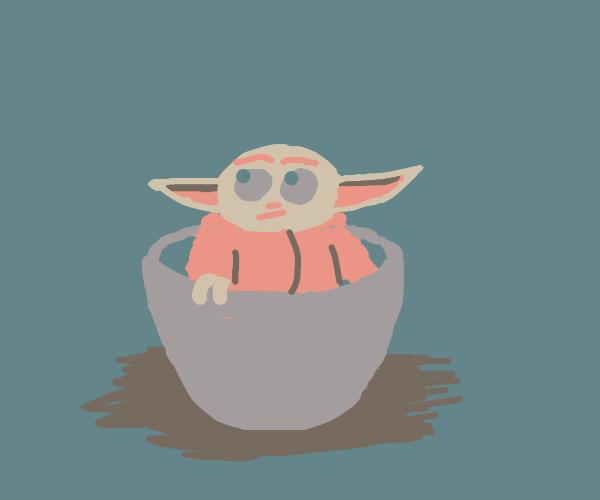 Baby Yoda in a teacup