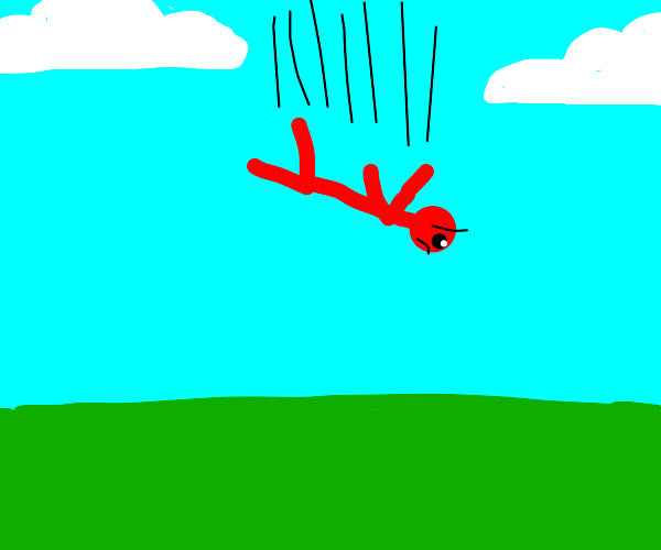 Red man falling from the sky