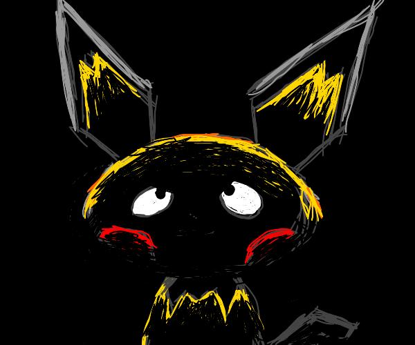 pichu stands in the dark like batman