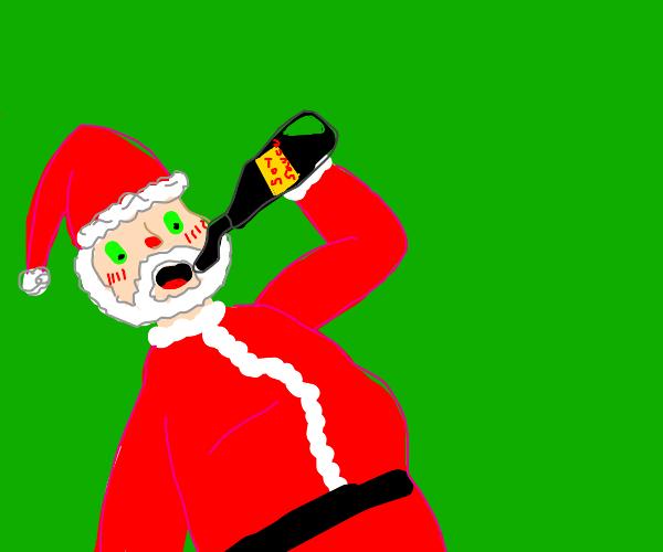 Santa drinks Soy Sauce