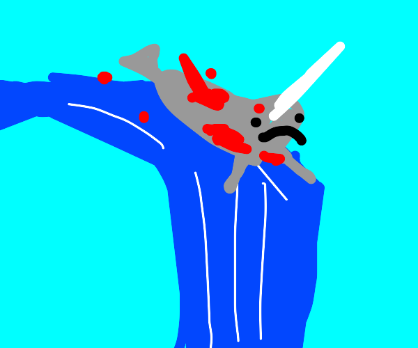 bloodied narwhal at the top of a waterfall