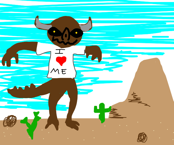 Creature stands over desert with massive ego